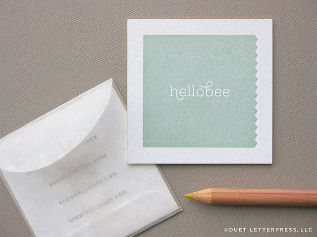 hellobee business cards by duet letterpress