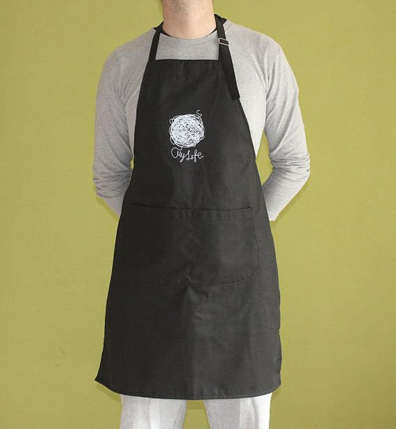 My Life Apron, Apron with pockets, Silkscreen, Unisex, Light Blue on Black, Hand Printed, Gift for her, Gift for him, Fun