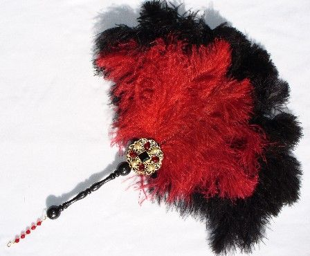 Red and Black Ostrich Feathers with a Jeweled Wand.Ostrich Feathers, Black Ostrich, Black Fans, Victorian Accessories, Ostrich Fans, Black And Red Feathers Fans, Jewelry Collection, Medieval Feathers, Fans Collection