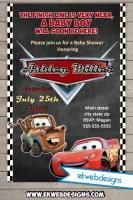 Disney Cars Baby Shower Invitations - Custom Lightening Mcqueen and Tow Mater Baby Shower Invitation