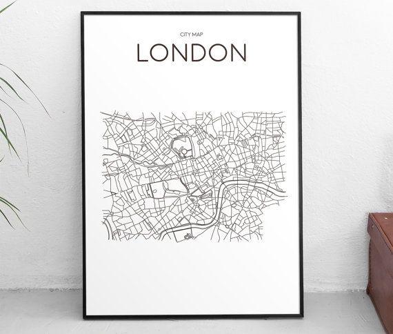 Downloadable Art Print Printable Poster London City Map Minimal Wall Art Black and White Scandinavian Design Artwork Gift