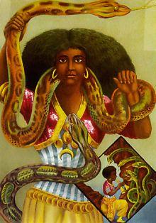 Poster contemporain de Mami Wata, « la prêtresse serpent » peinte par l'artiste allemand (Hamburg) Schleisinger vers 1926.