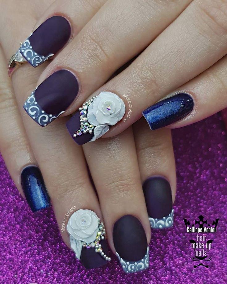 Dark purple romantic nails  #nails💅#nailart #nailartforever #darkpurplenails #differentfrance #romanticnails💞 #3dplastelineflowers🌸 #mattenails #salonnails #nailaddict #nails2inspire #nailaholic #nothingisordinary#nailartist #marinaveniou #nailartseminars ##trusttheexperts #beautymakesyouhappy   www.kalliopeveniou.gr