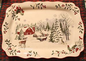 Better Homes And Gardens Mistletoe Christmas Platter Tray Winter Scene  Farmhouse