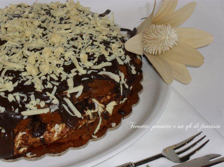 Torta soffice al cioccolato con crema Tiramisu' e Nutella, questo è un dolce che ti appassiona, cioccolatoso, soffice, cremoso, profumato al caffe,