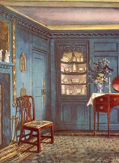William Ranken - 'A Blue Dining-Room at Howbridge Hall, Witham,' dated 1925