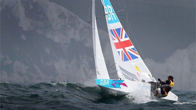 Iain Percy and Andrew Simpson compete in the men's Star Sailing on day 6 at Weymouth & Portland