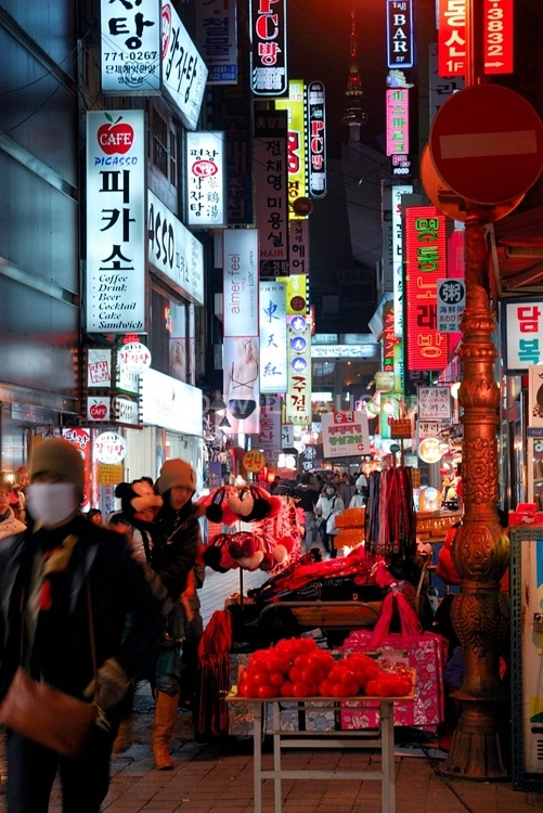 Myeondong District in Downtown Seoul South Korea