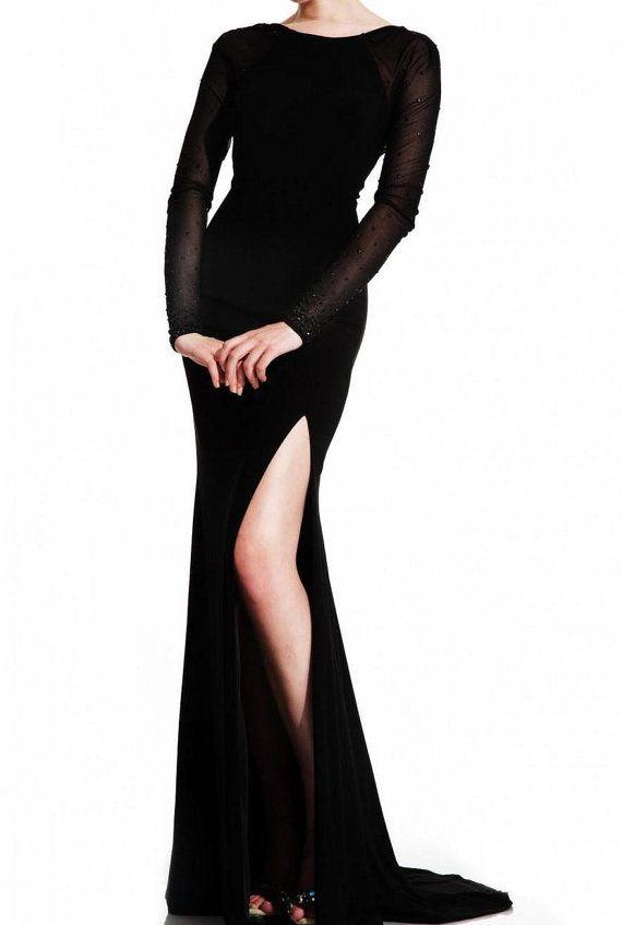 Black Formal Dress Black Long Sleeves Backless by LUXandGLAMOR, $190.00