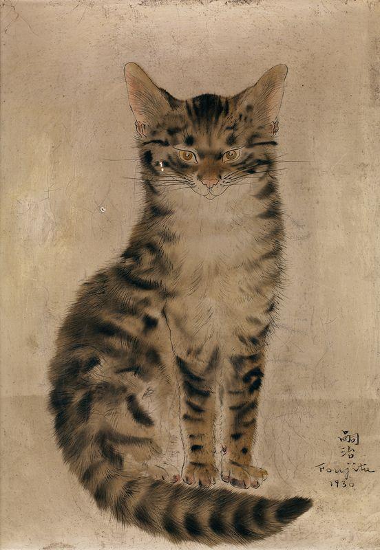 """Léonard Tsuguharu Foujita (1886-1968) - Chat roux assis..., mis en vente lors de la vente """"Art Impressionniste et Moderne"""" à Tajan   Auction.fr"""