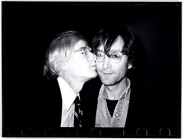 Andy Warhol Kissing John Lennon - Photographed by  Christopher Makos,  Gelatin silver print: Warhol Kiss, Artists, Kiss John, Beatles, Christopher Mako, Andywarhol, Andy Warhol, John Lennon