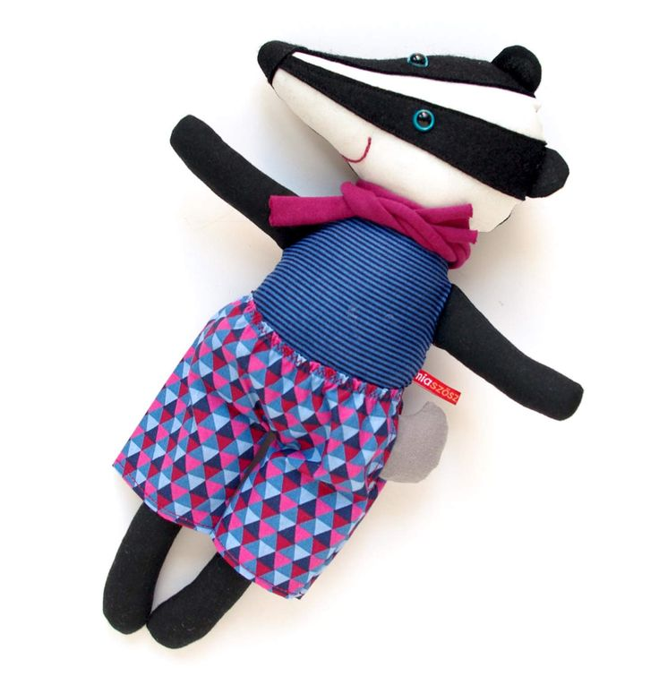 "12"" MiaZzz Badger Fellow - fabric black white striped stuffed animal plush rag doll toy softie plushie child by MiaZzz on Etsy"