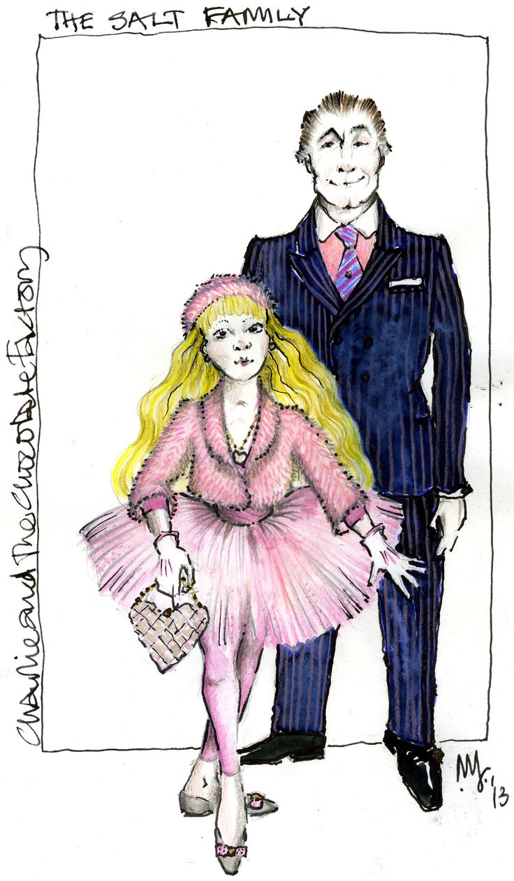 Mark Thompson's sketch for Veruca Salt and her father from charlie and the chocolate factory musical