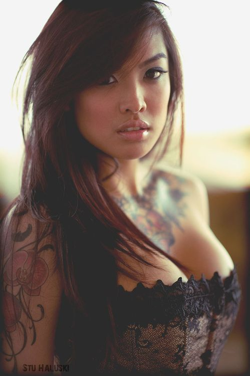 This #Asian girl is gorgeous and her tattoos are hot too