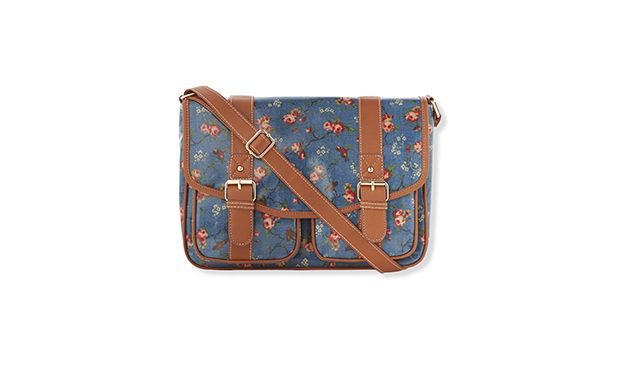 "Canvas Bird Print Satchel. ""Playful and practical, wear this floral satchel across the body and keep your hands free."""