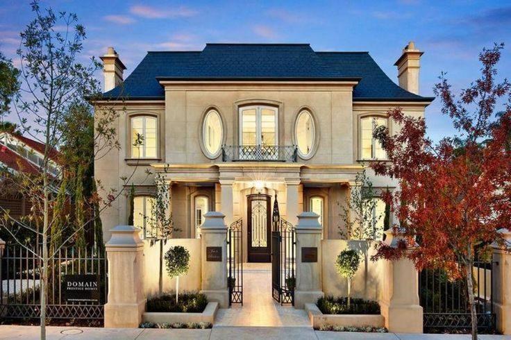 French Provincial facade - new house  Like the garden In front of fence
