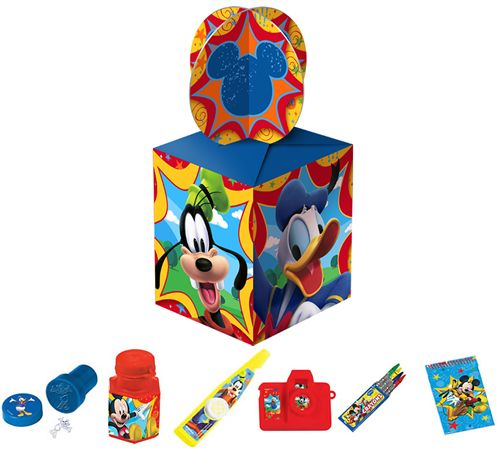 MICKEY MOUSE PARTY BAG:  • Mickey Mouse Stamp  • Mickey Mouse Bubbles  • Mickey Mouse Kazoo  • Mickey Mouse Click Camera  • Mickey Mouse Crayons   • Mickey Mouse Notebook