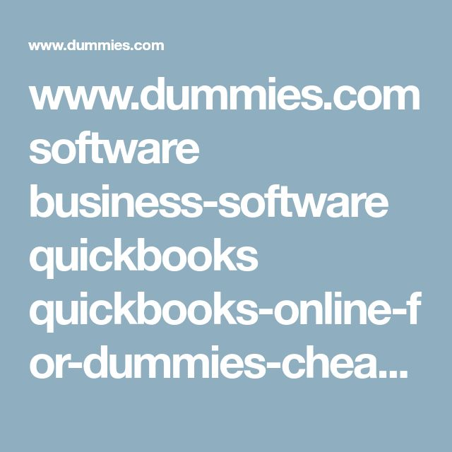 www.dummies.com software business-software quickbooks quickbooks-online-for-dummies-cheat-sheet