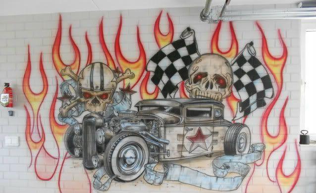 garage art on wall