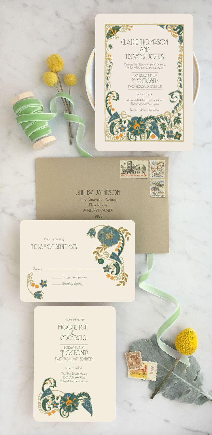 Art Deco Wedding Invitations Announce your day with drama and color with this art deco floral design! These Art Deco wedding invitations are custom printed with your wording, wedding colors and unique vintage style! Shop at www.gogosnap.com or Etsy.com/GoGoSnap
