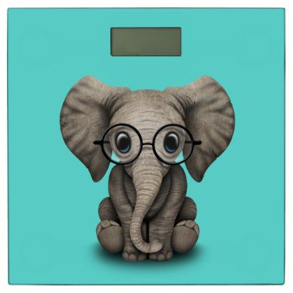 #Nerdy Baby Elephant Wearing Glasses Bathroom Scale - #Bathroom #Accessories #home #living
