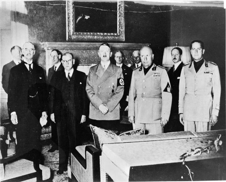 From left: Neville Chamberlain, French Prime Minister Edouard Daladier, Adolf Hitler, Italian dictator Benito Mussolini and Italian foreign minister Count Ciano. The Czechs played no part in the discussions. The Agreement was signed at 2.00am on 30 September. Its terms allowed Hitler's forces to move into the Sudetenland the following day.