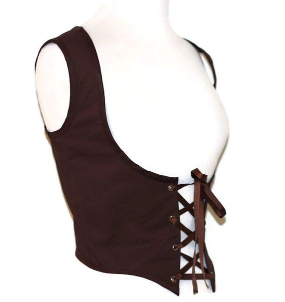 Black or Brown Lace Up Vest Renn Faire Bodice SCA by GloomCouture