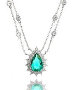 colar tiffany da moda com pedra turmalina e zirconias cristais semi joias sofisticadas