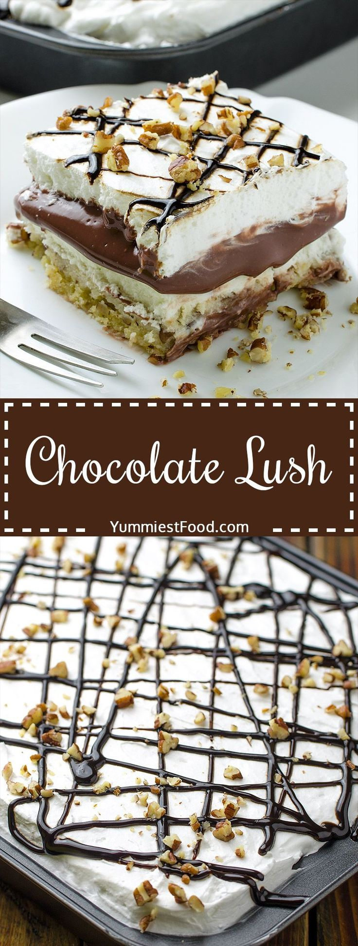 Chocolate Lush - perfect combination of cream cheese, cool whip and pecans! This recipe is very easy to make and it is so delicious! Layer after layer of chocolate fantasy - Chocolate Lush!