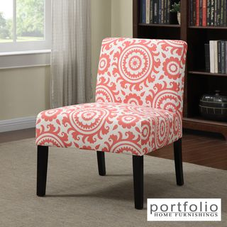 Portfolio Niles Pink Coral Medallion Armless Accent Chair | Overstock.com Shopping - Great Deals on PORTFOLIO Chairs