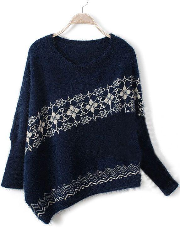 Navy Long Sleeve Asymmetrical Snowflake Batwing Sweater