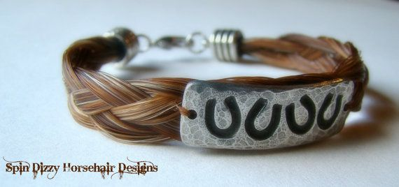 Horsehair Bracelet With Lucky Horseshoe by SpinDizyEquineDesign, $45.00