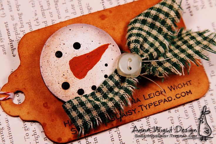 snowman with fabric scarf tag