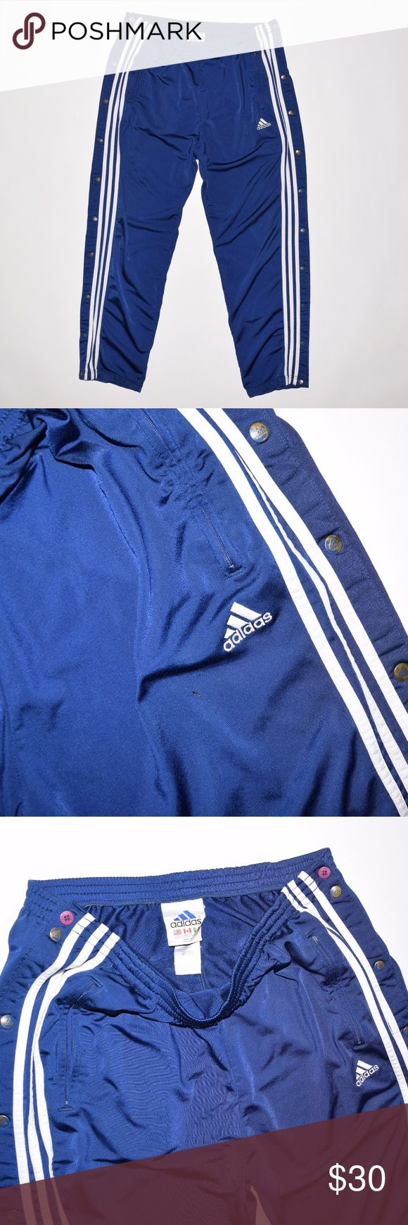 Rare 80's 90's Vintage VTG Adidas Breakaway Pants Brand: Adidas   Item name: Rare 80's 90's Vintage Men's Breakaway Warm Up Pants  Color: Blue /  White  Condition: This is a pre-owned item. The zipper to the front right pocket is broken and there is a small pinhole on the right leg along with some signs of wear on the bottom of the right leg (see photos) but otherwise they are in good used condition with no stains. Comes from a smoke free household.  Size: Large  Measurements laying flat…