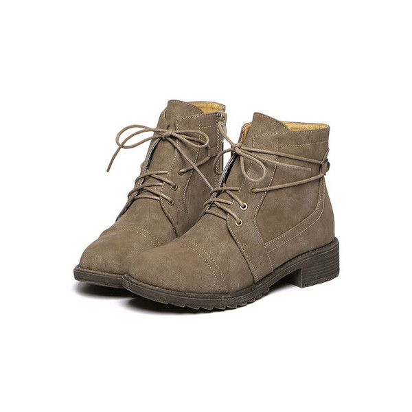SheIn(sheinside) Camel Round Toe Lace Up Boots ($39) ❤ liked on Polyvore featuring shoes, boots, ankle booties, tan, low heel boots, laced booties, tan boots, lace up booties and chunky lace up booties