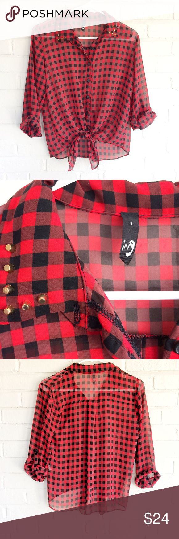 ING sheer tartan plaid tied top w/ studded collar Make an offer! No trades. Bundle and save - I'm a fast shipper! ING Tops Button Down Shirts