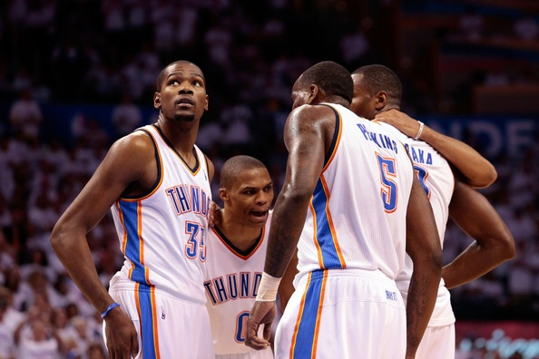 kevin kd durant russell westbrook kendrick perkins and serge ibaka okc thunder game 6 against spurs