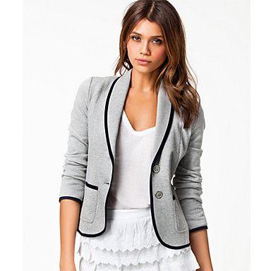 Yiluo europese stijl slanke twee knoppen blazer met pocket (grijs) - EUR € 12.99