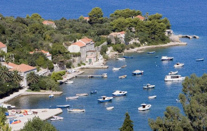 Croatia, Dalmatia, near Dubrovnik, Elaphite Islands, Kolocep, small boats in bay
