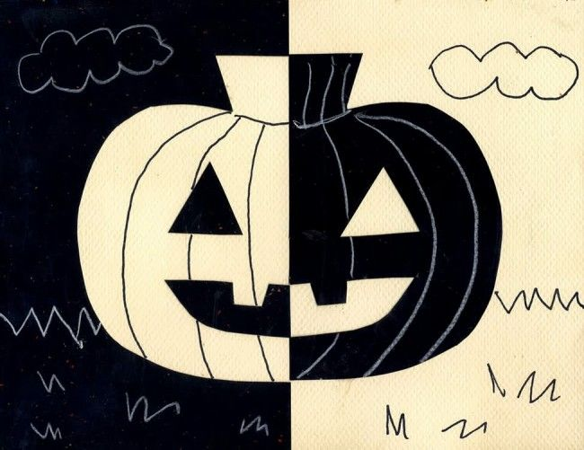 A study of positive and negative shapes. #halloween #pumpkin