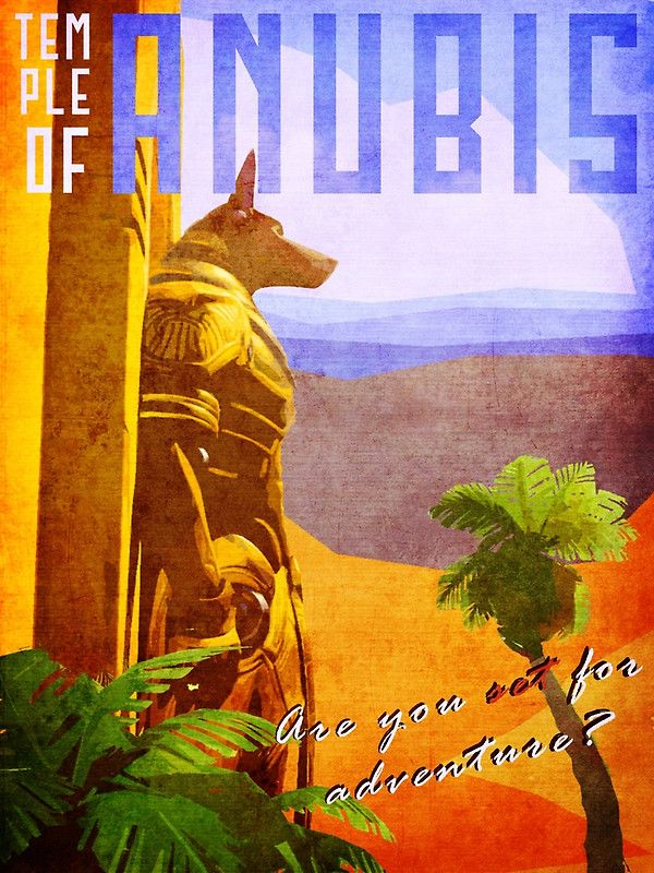 Temple of Anubis Vintage Travel Poster by lostrenegade