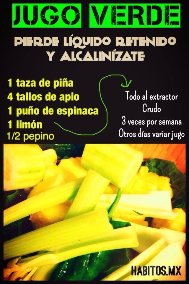Jugo verde DIURÉTICO Y ALCALINIZANTE: piña, apio, espinacas, limón y pepino