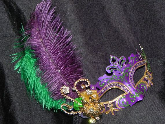Purple Green and Gold Mardi Gras Mask with by TheCraftyChemist07