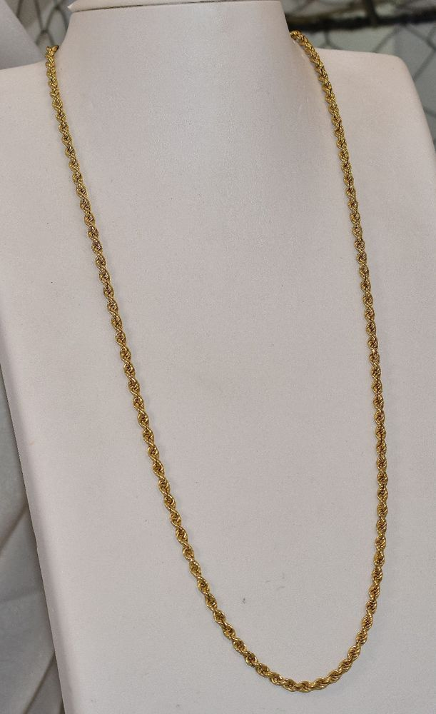 14 K Yellow Gold 3 5 Mm Hollow Rope Chain 25 1 2 Inch 11 7 Grams