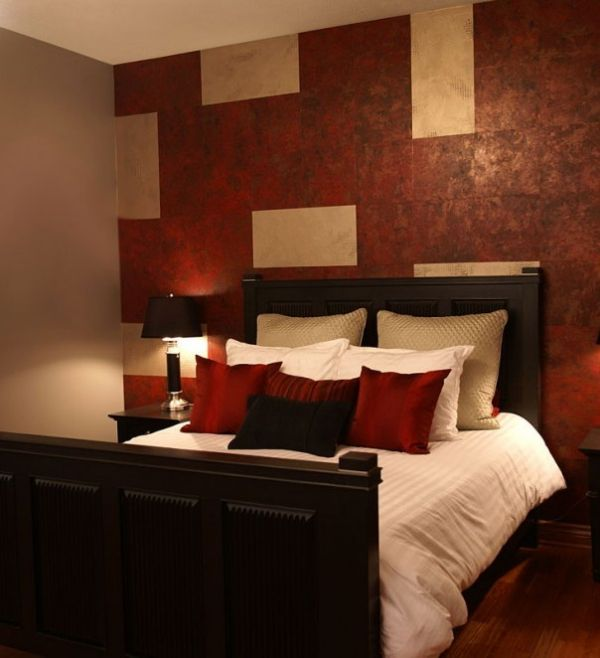 Bedroom Color Ideas With Accent Wall: Red Bedroom, Maybe Less Busy On The Accent Wall