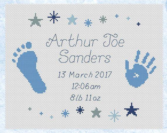 Custom cross stitch birth announcement cute personalized new
