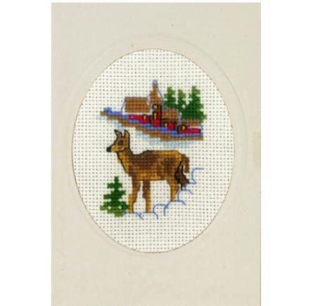Broderi Julkort - Fallow Deer