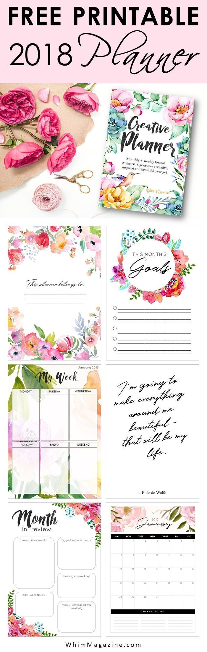 Get your FREE 2018 planner now! Click to download your free printable planner from Whim Magazine - instant download!