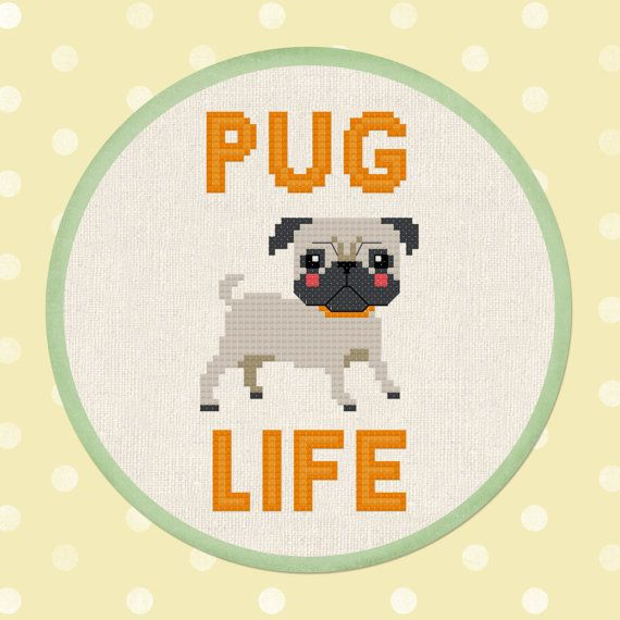 +This item is available for instant digital download*  An adorable Pug Life Cross Stitch Pattern. Turn this lovely pattern into fantastic and