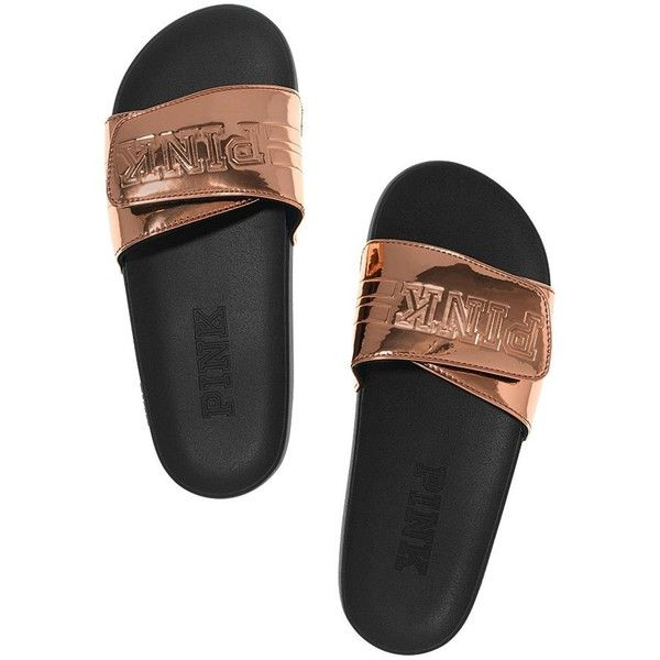 Amazon.com: Victoria's Secret PINK Crossover Comfort Slide Sandals... ($60) ❤ liked on Polyvore featuring shoes, sandals, victoria's secret, slide sandals, victoria secret shoes and victoria secret sandals